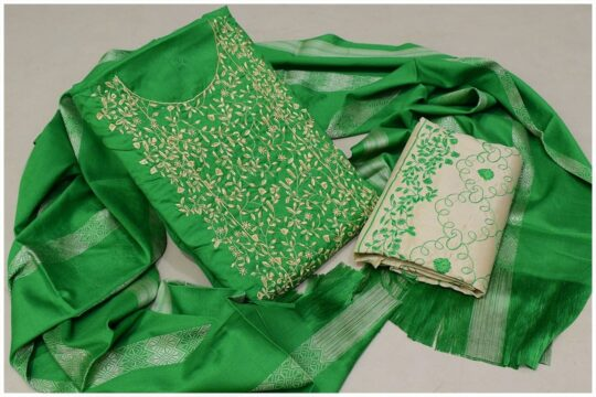 3 Pc Staple Green Color Marina Bareeze Jaal Neck Border Embroidery with Embroidered Trouser and Wool Shawl