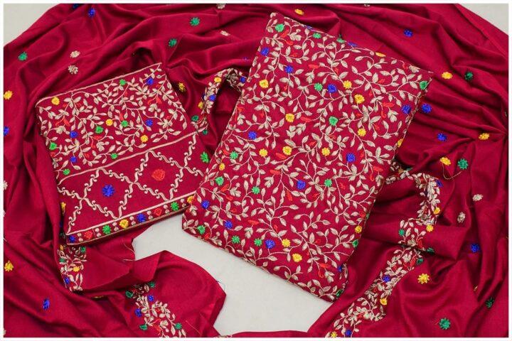 3 Pc Staple Marina Bareeze Jaal Embroidery With Heavy Plazo