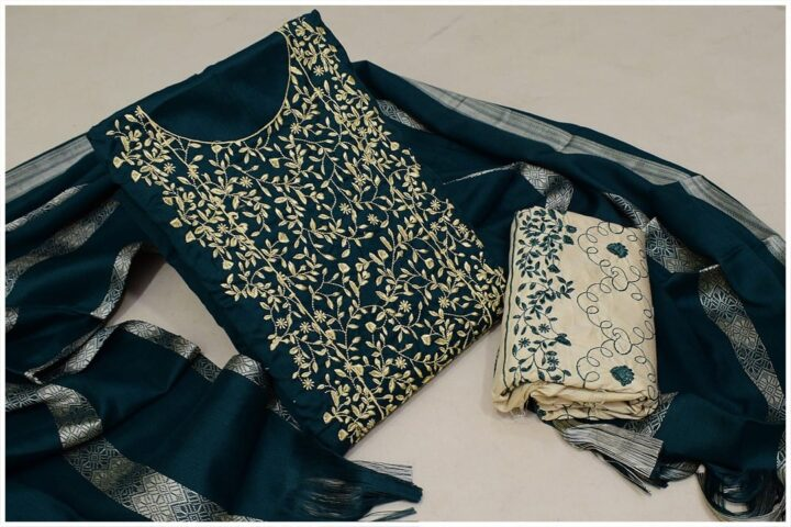 3 Pc Staple Dark Green Color Marina Bareeze Jaal Neck Border Embroidery with Embroidered Trouser and Wool Shawl