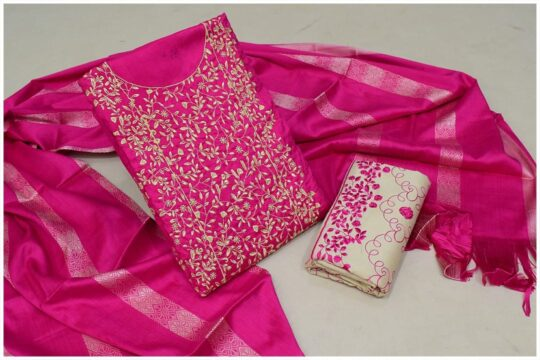 3 Pc Staple Pink Color Marina Breeze Jaal Neck Border Embroidery with Embroidered Trouser and Wool Shawl