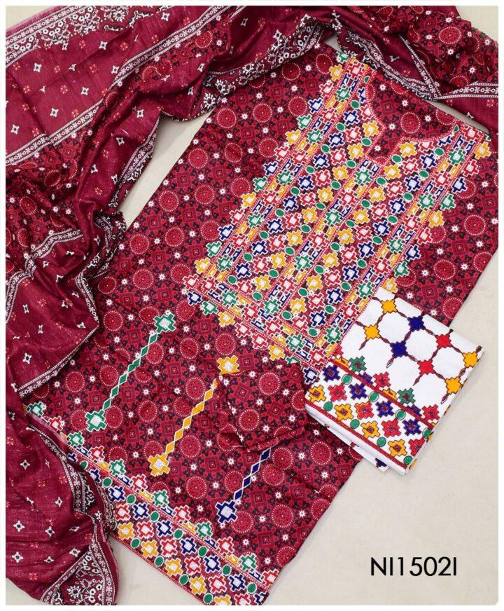 3 Pc Un-Stitched Ajrak Machine Embroidered Cotton Lawn Suit With Lawn Dupatta