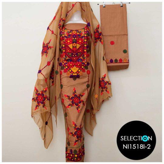 3 Pc Lawn Aari Work Machine Embroidered Suits With Chiffon Dupatta - NI1518I2