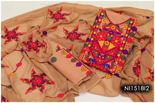 3 Pc Lawn Aari Work Machine Embroidered Suits With Chiffon Dupatta – NI1518I2