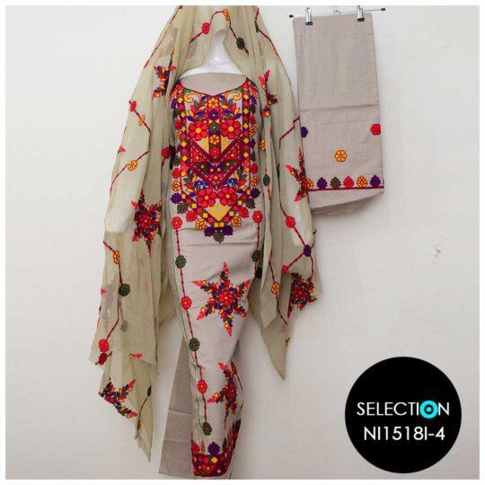 3 Pc Lawn Aari Work Machine Embroidered Suits With Chiffon Dupatta - NI1518I4