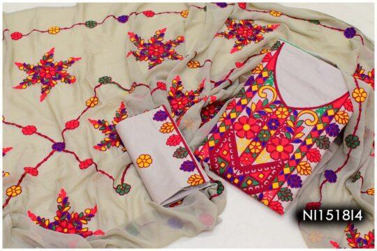 3 Pc Lawn Aari Work Machine Embroidered Suits With Chiffon Dupatta – NI1518I4