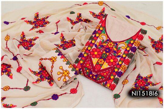 3 Pc Lawn Aari Work Machine Embroidered Suits With Chiffon Dupatta - NI1518I6
