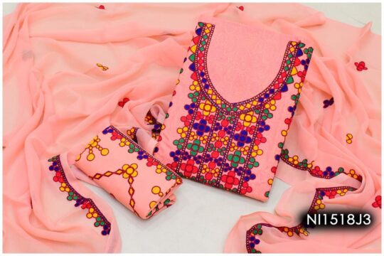 3 Pc Lawn Aari Work Machine Embroidered Suits With Chiffon Dupatta – NI1518J3