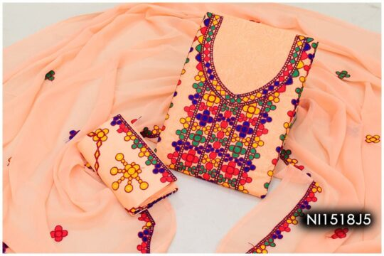 3 Pc Lawn Aari Work Machine Embroidered Suits With Chiffon Dupatta - NI1518J5