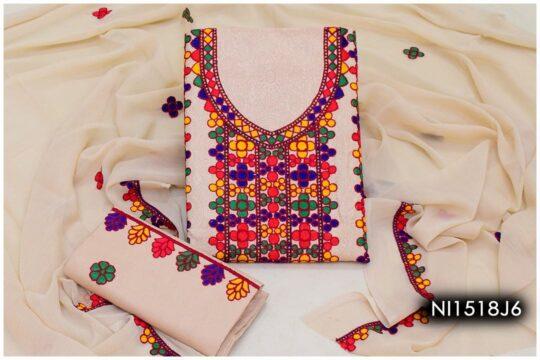 3 Pc Lawn Aari Work Machine Embroidered Suits With Chiffon Dupatta - NI1518J6