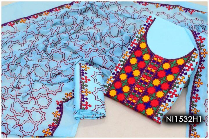 3 Pc Lawn Aari Work Machine Embroidered Suits With Chiffon Dupatta - NI1532H1