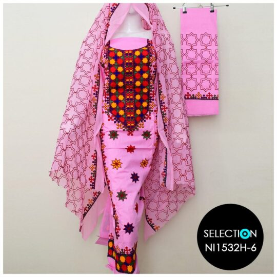 3 Pc Lawn Aari Work Machine Embroidered Suits With Chiffon Dupatta - NI1532H6