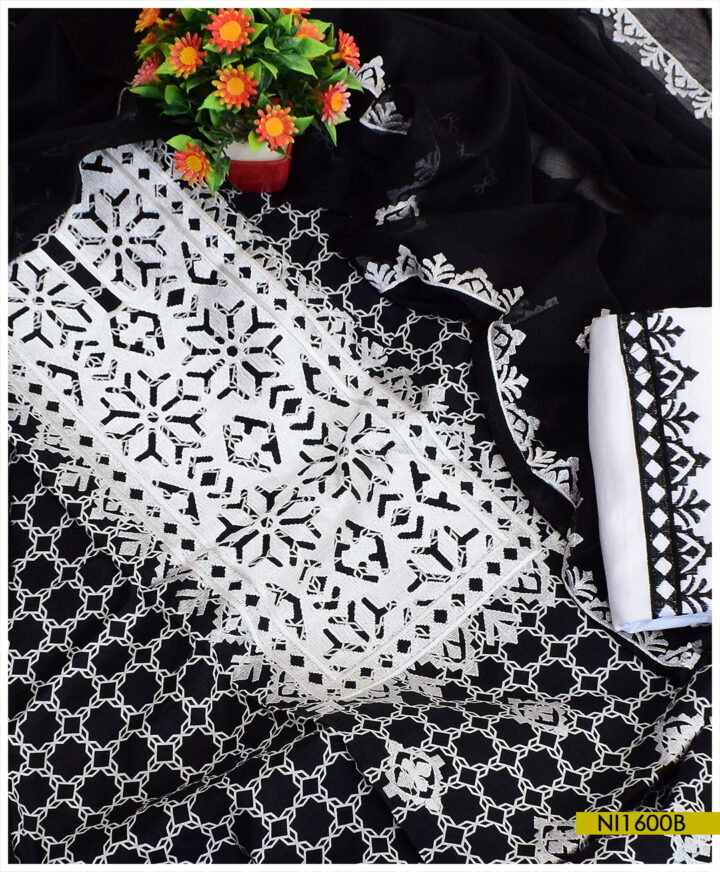 3 Pc Original Rotri Printed Linen Computer Embroidered Un-Stitched Suit With Chiffon Dupatta - NI1600B
