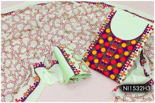 3 Pc Lawn Aari Work Machine Embroidered Suits With Chiffon Dupatta – NI1532H3