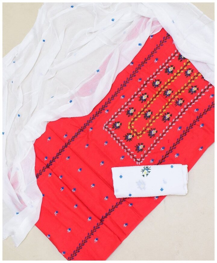 3 Pc Un-Stitched Lawn Hand Embroidered Suit With Chiffon Dupatta