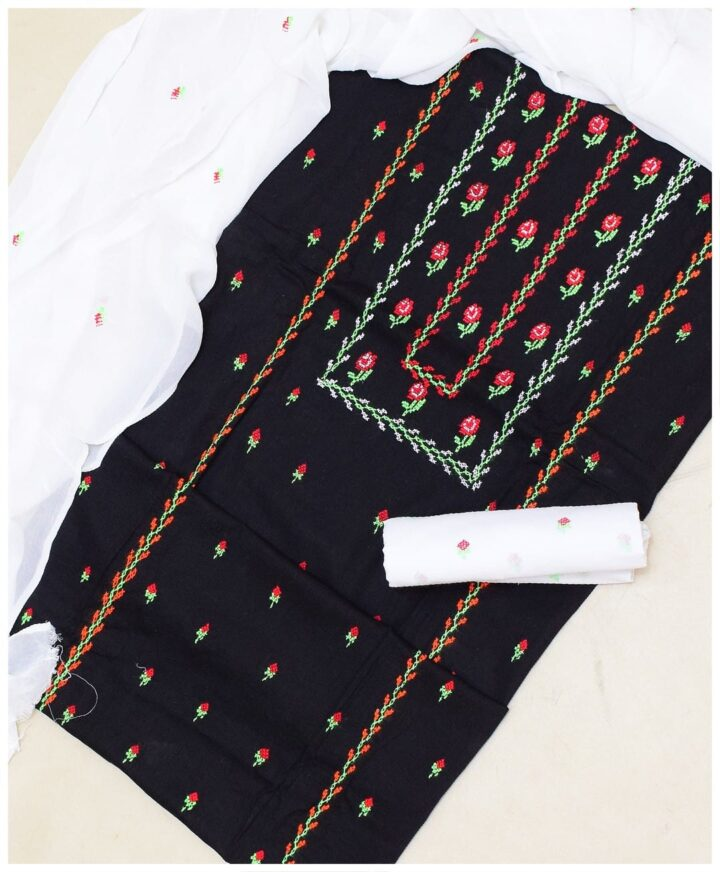 Hand Embroidered Lawn 3 Pc Suit With Chiffon Dupatta
