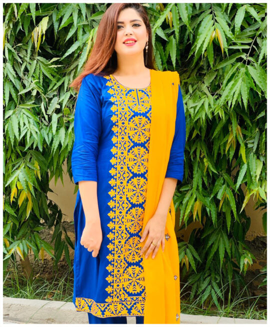 3 PC Un-Stitched Machine Embroidered Lawn Suit With Chiffon Dupatta
