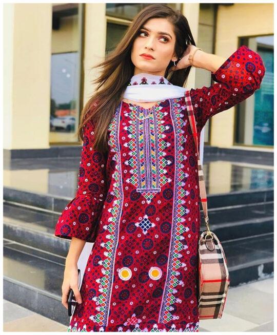3 Pc Un-Stitched Lawn Aari Work Suits With Chiffon Dupatta-SOS0039