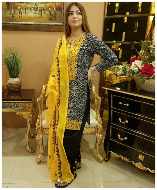 3 Pc Un-Stitched Lawn Original Rotri Print Suits With Chiffon Dupatta-SOS0042