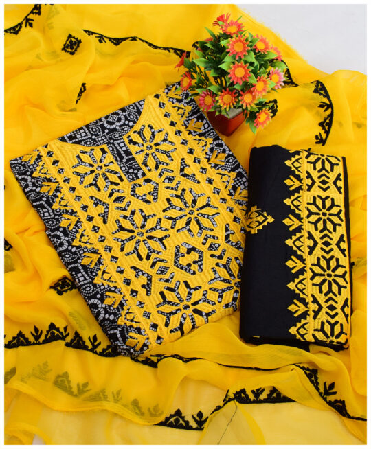 3 Pc Un-Stitched Lawn Original Rotri Print Suits With Chiffon Dupatta