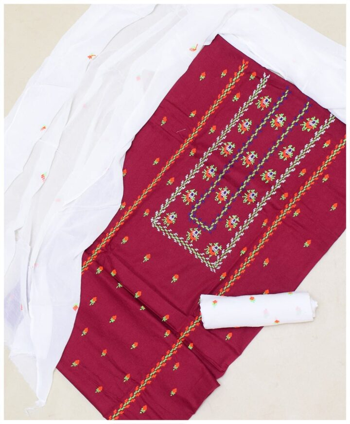 Un-Stitched Embroidered Lawn 3 Pc Suit With Chiffon Dupatta