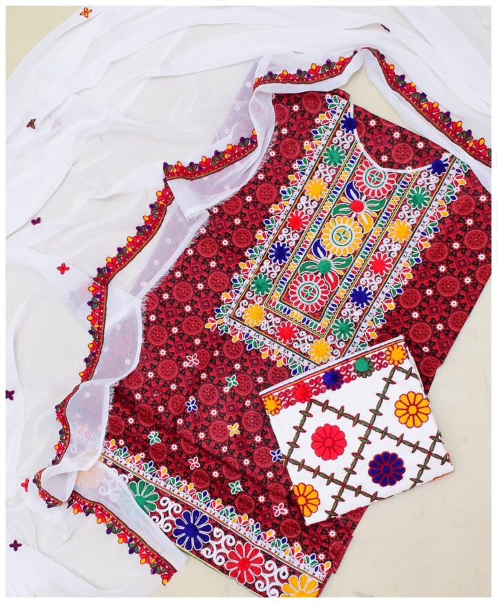 3 PC Un-Stitched Machine Embroidered Lawn Ajrak Suit With Chiffon Dupatta-N11532L