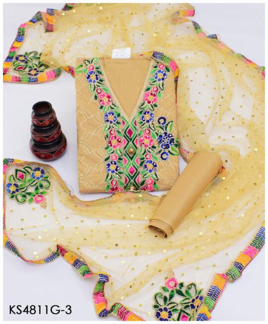 3pc Fancy Cotton Lawn Suits With Chiffon Duppatta KS4811G