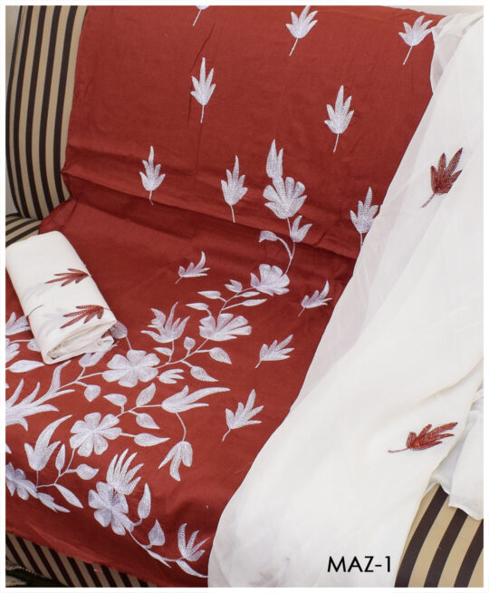 3 Pc Un-Stitched Lawn Hand Embroidered Aar Patta Work Suit With Chiffon Dupatta - MAZ1