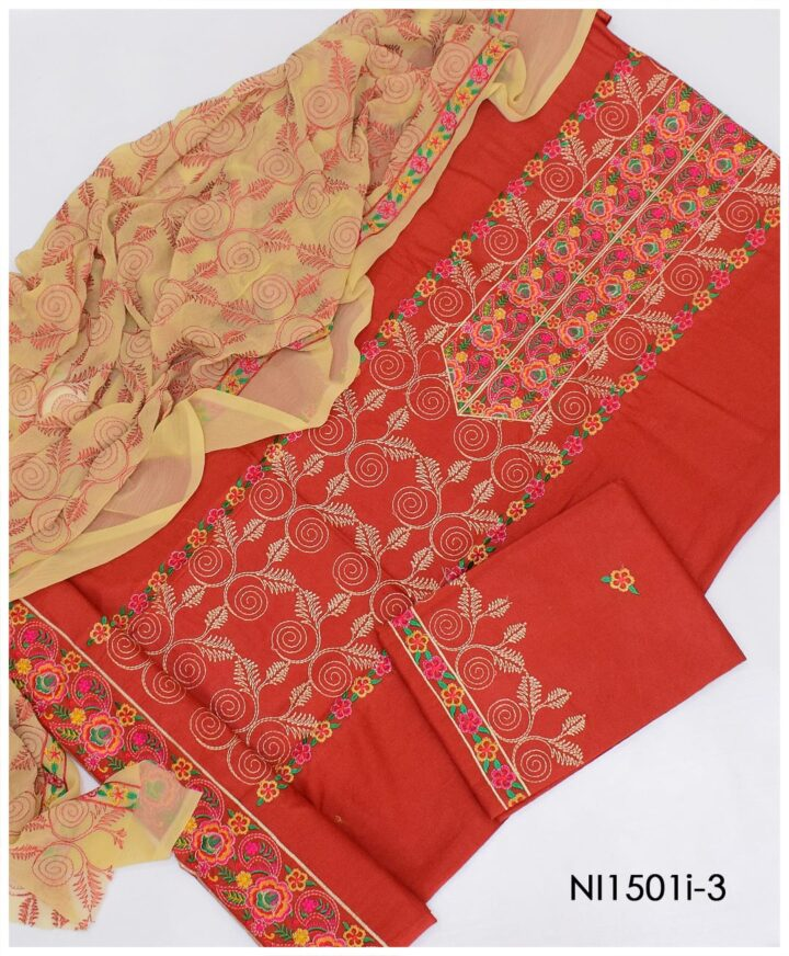 3 PC Un-Stitched Machine Embroidered Lawn Suit With Chiffon Dupatta - NI1501I3