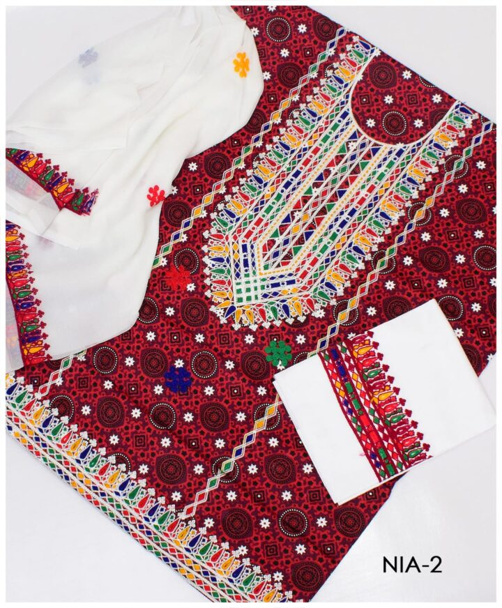 3 PC Un-Stitched Machine Embroidered Lawn Ajrak Suit With Chiffon Dupatta - NIA2