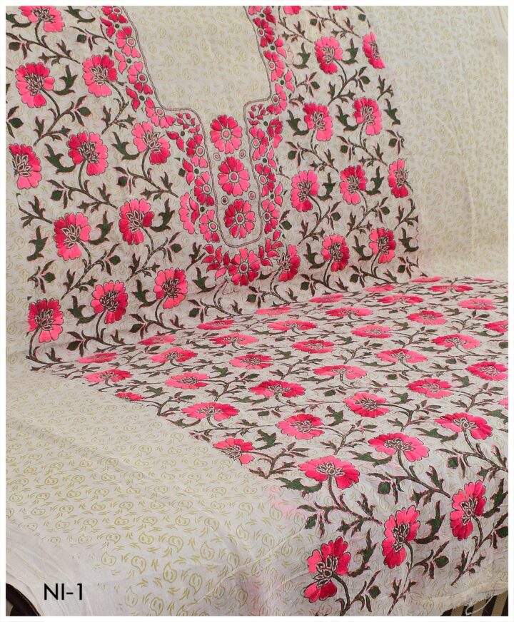 Un-Stitched Lawn Single Block Printed Hand Embroidered Shirts