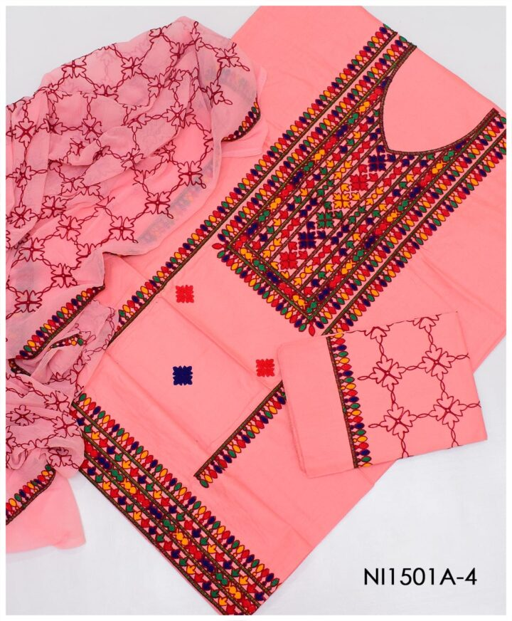 3 PC Un-Stitched Machine Embroidered Lawn Suit With Chiffon Dupatta - Ni1501A