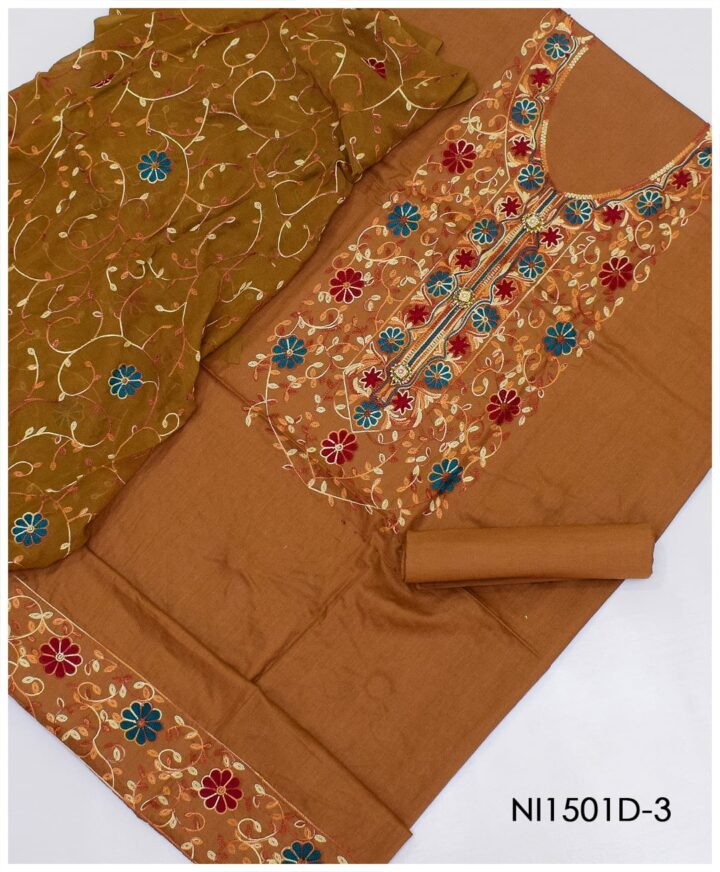 3 PC Un-Stitched Machine Embroidered Lawn Suit With Chiffon Dupatta - Ni1501D-3