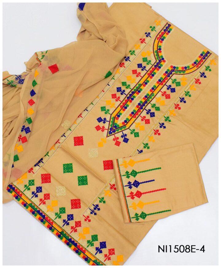 3 PC Un-Stitched Machine Embroidered Lawn Suit With Chiffon Dupatta-NI1508E-4