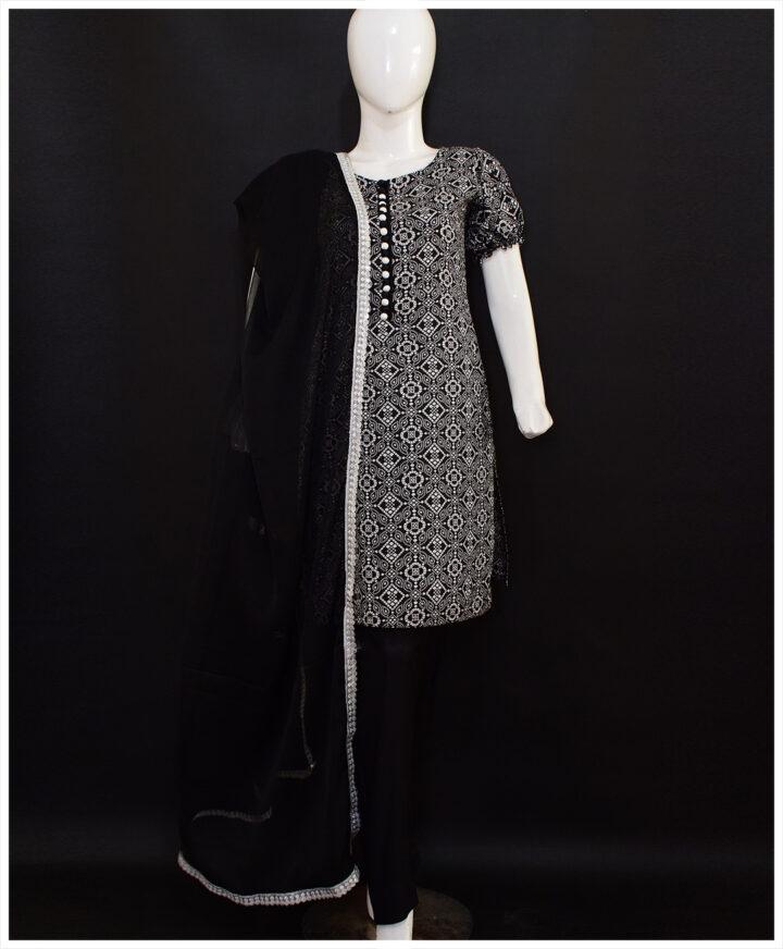 3 Pc Un-Stitched Linen Original Rotri Print Suits With Chiffon Dupatta-SOS0033