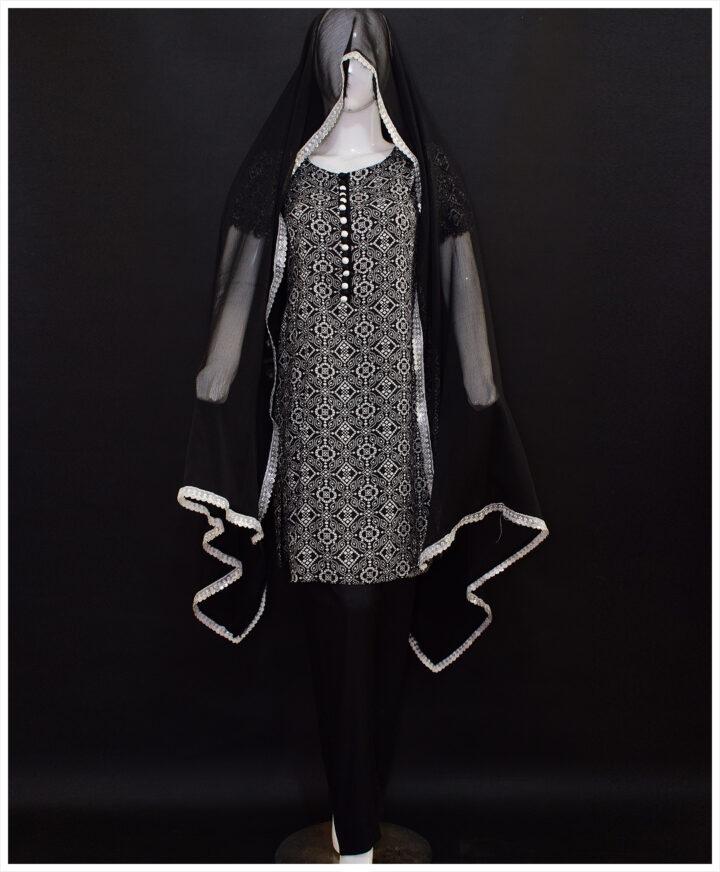 3 Pc Un-Stitched Linen Original Rotri Print Suits With Chiffon Dupatta-SOS0034