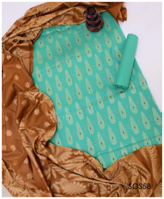 3 Pc Un-Stitched Jackuard Lawn Banarsi Suits for Women- SOS0058