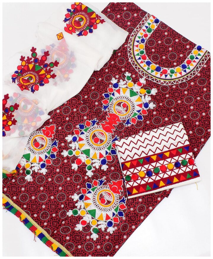 3 PC Un-Stitched Machine Embroidered Lawn Ajrak Suit With Chiffon Dupatta-SOSBA0011