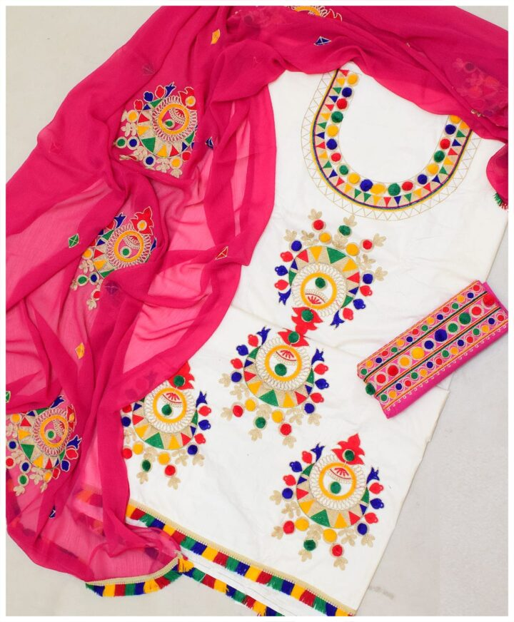 3 PC Un-Stitched Machine Embroidered Lawn Suit With Chiffon Dupatta-SOSLP002