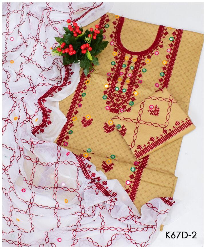 3 PC Un-Stitched Lawn Sindhi Raani Aari Embroidery Suits With Chiffon Dupatta - K67D2