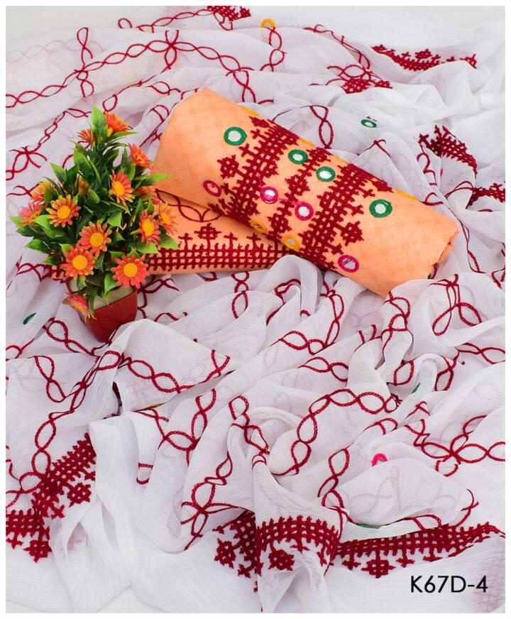 3 PC Un-Stitched Lawn Sindhi Raani Aari Embroidery Suits With Chiffon Dupatta - K67D