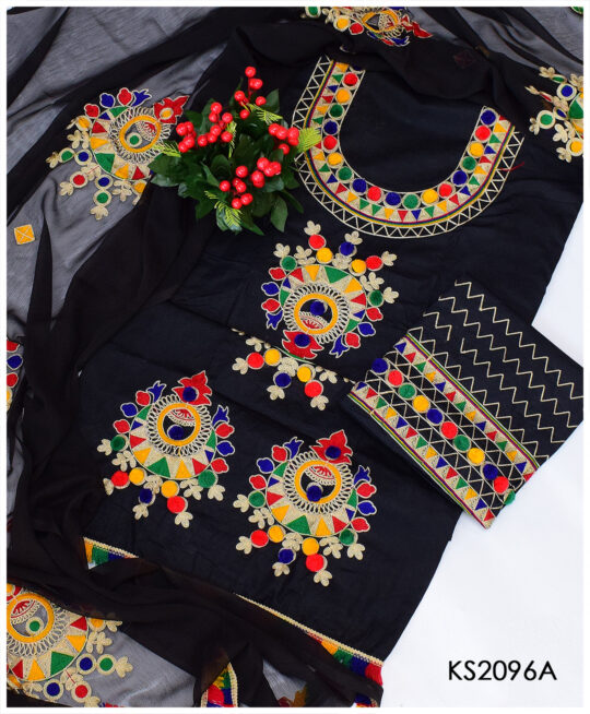 3 PC Un-Stitched Black Lawn Aari Embroidery Dress With Chiffon Dupatta – KS2096A