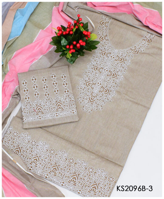 3 PC Un-Stitched Aari Neck Border Embroidery Cotton Khaddar Suits – KS2096B3
