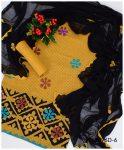 3 PC Un-Stitched Khadi Cotton Applique Work Suits With Chiffon Dupatta - KS2096D6