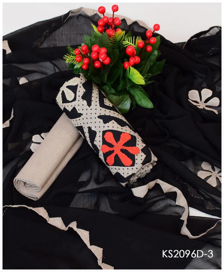 3 PC Un-Stitched Khadi Cotton Applique Work Suits With Chiffon Dupatta - KS2096D