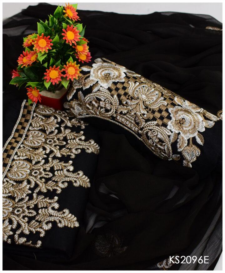 Beautiful 3 PC Fancy Style Black Embroidery Un-Stitched Lawn Dress With Chiffon Dupatta
