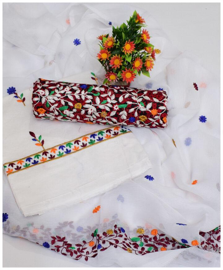 3 Pc Lawn Ajrak Bareeze Jaal Embroidery Un-Stitch Suits With Chiffon Dupatta - NI1524F