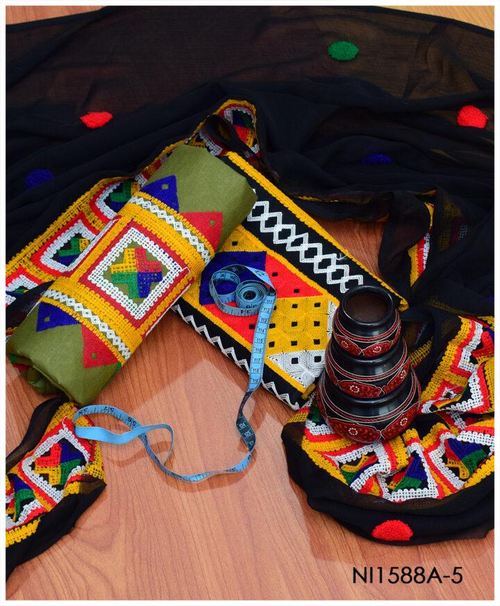 3 PC Lawn Un-Stitched Balochi Style Embroidery Suit With Chiffon Dupatta - NI1588A