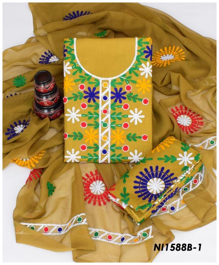 3 Pc Lawn Machine Aari Embroidered Suits With Chiffon Dupatta NI1588B1