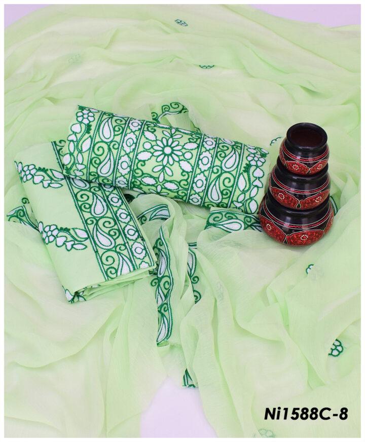 3 PC Un-Stitched Aari Embroidery Suit With Chiffon Dupatta - NI1588C
