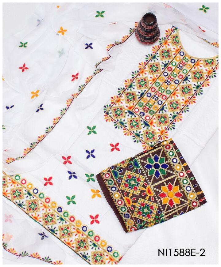3 Pc Lawn Machine Embroidered Suits With Chiffon Dupatta NI1588E2